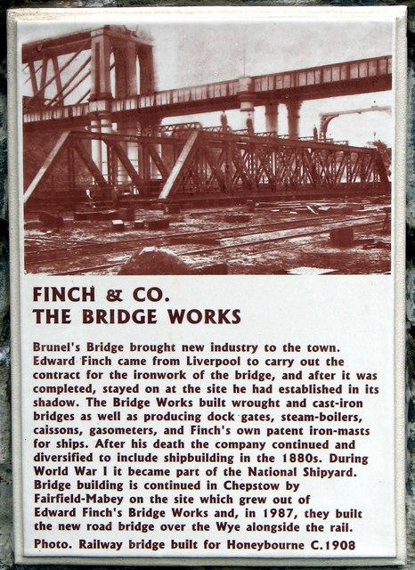 Finch & Co. The Bridge Works plaque