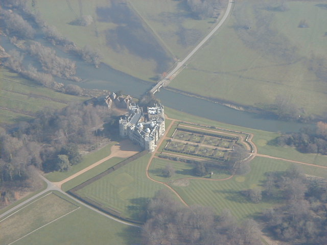 Longford Castle from the air