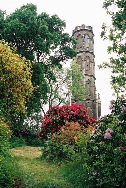 Charborough Park: tower surrounded by colour