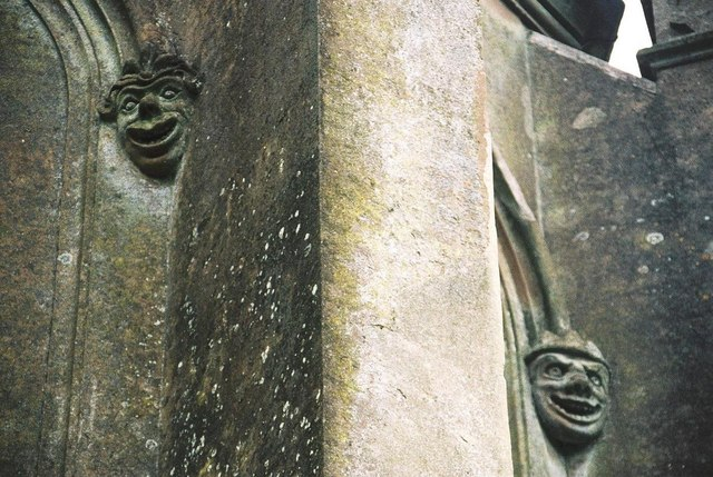 Charborough Park tower: gargoyles close-up