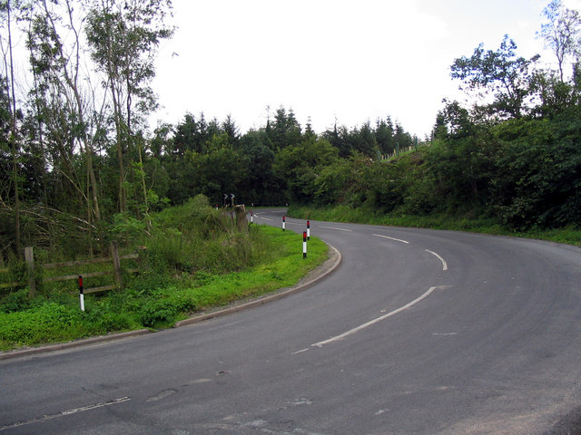 Bends on the A4113 road known as Fiddler's Elbow