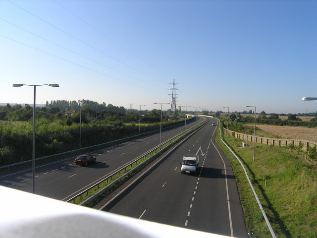 Clapham Bypass, A6, looking south from Oakley Road Bridge