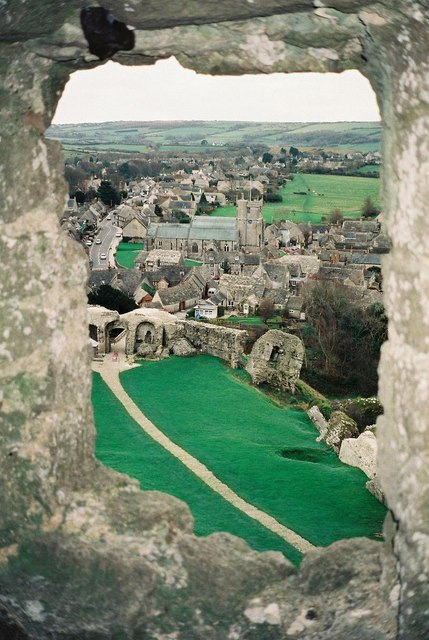 Corfe Castle: the village from the castle