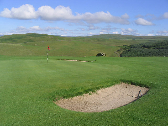 The 14th green on Galashiels Golf Course