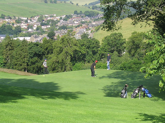 Golfers on the 2nd green at Galashiels Golf Course