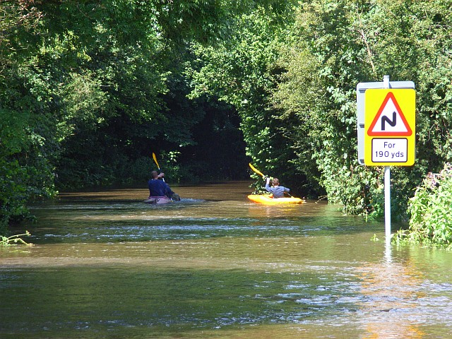 Canoeists in Mill Lane, Sindlesham