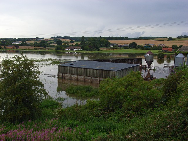 Flooded farm buildings, Midgham Marsh