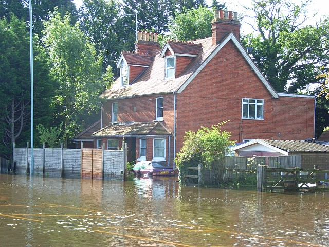 Flooded house, Reading Road, Winnersh