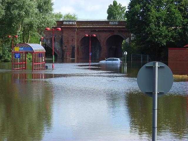 Flooded car park, Loddon Bridge