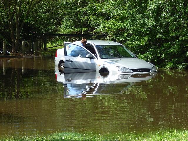 Car in flood water, Lower Earley
