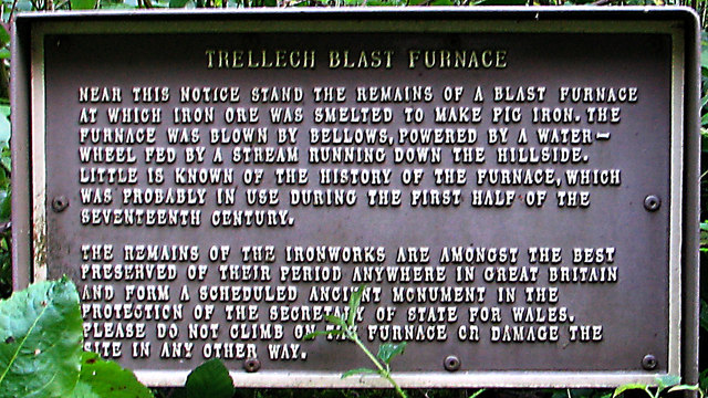 Trellech Blast Furnace information board