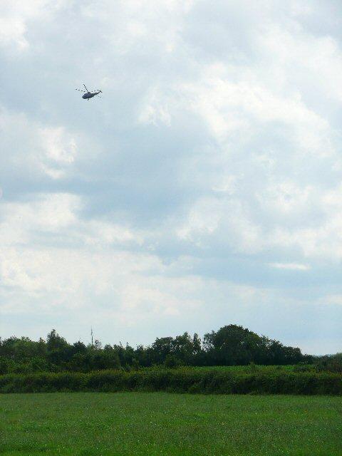 Helicopter over farmland near Southey Farm
