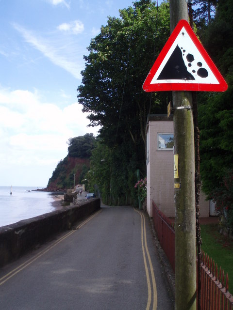 Narrow road along the shoreline, Shaldon