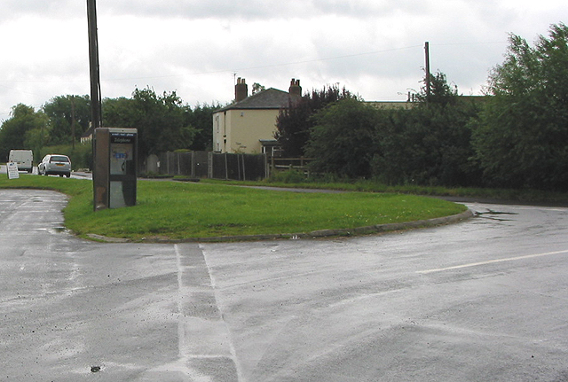 Road junction with telephone box