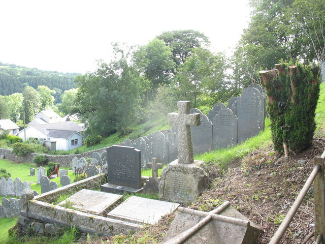 A little nearer to heaven - steeply sloping graveyard at Rhydymain
