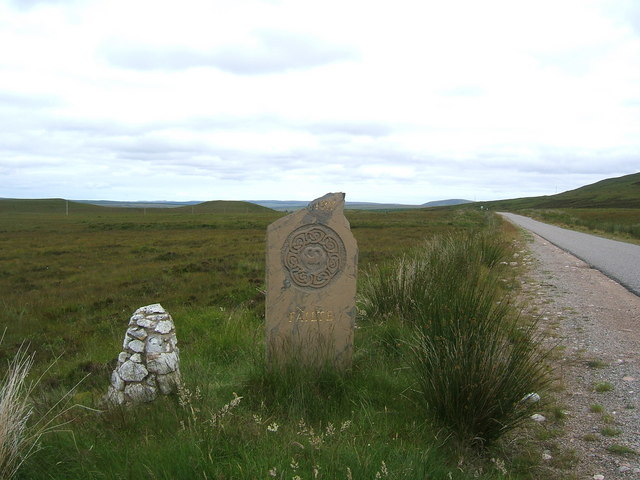 Broken sign along the A897 road