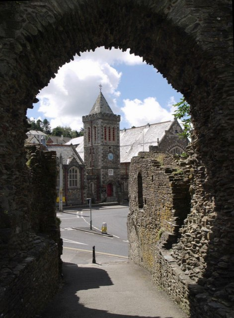 Launceston: the Guildhall from the castle