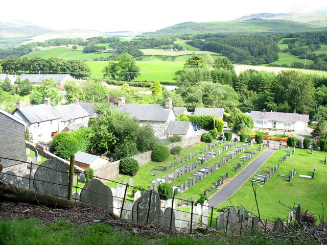 The old part of the village of Rhydymain from the top of the graveyard