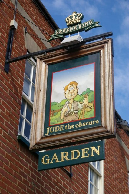 Closeup of the sign for the Jude the Obscure pub, Jericho