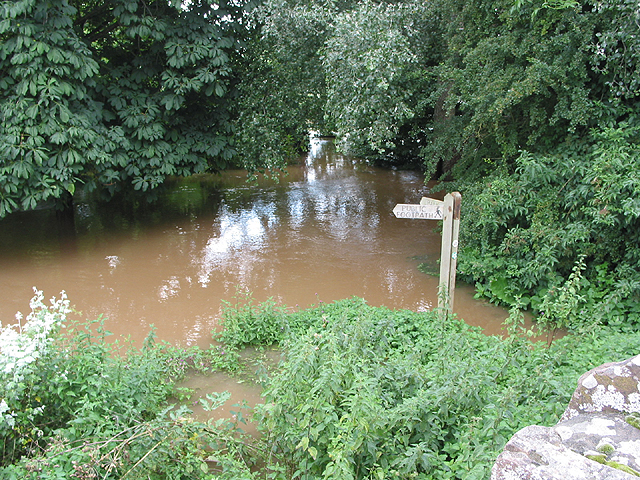 Flooded footpath junction by the Wye, Wilton Bridge