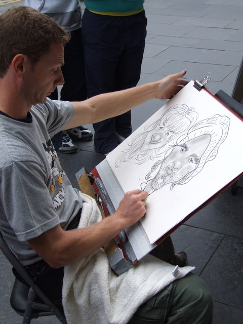 Street Cartoonist on the Royal Mile, Edinburgh
