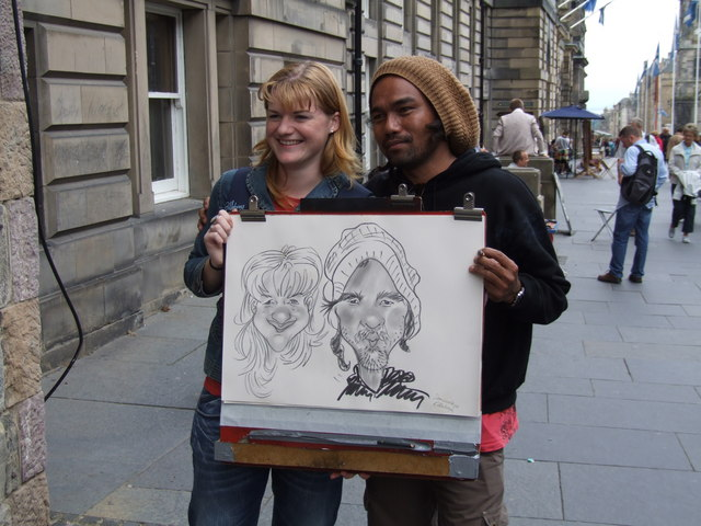 Street Cartoonist on the Royal Mile, Edinburgh