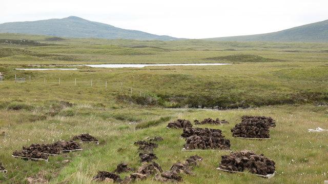 Peat cutting near Loch na Maighdein.