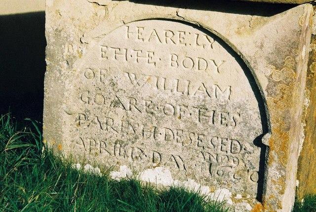 Frome Vauchurch church: gravestone detail