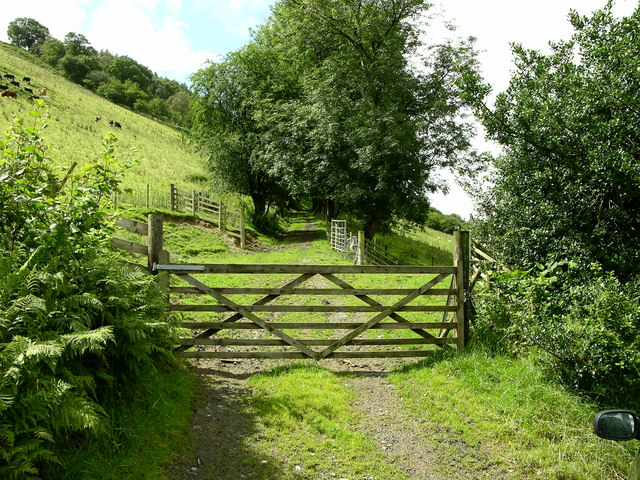 Track from road along Dovey Valley