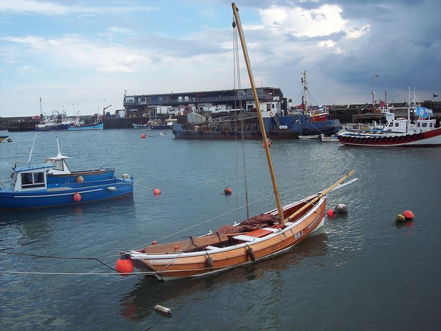 Boats moored at Bridlington Harbour