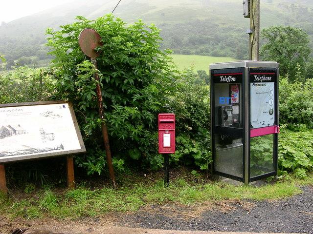 Telephone box, postbox and information board, Llanymawddwy