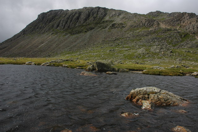 Bow Fell viewed from one of the Three Tarns