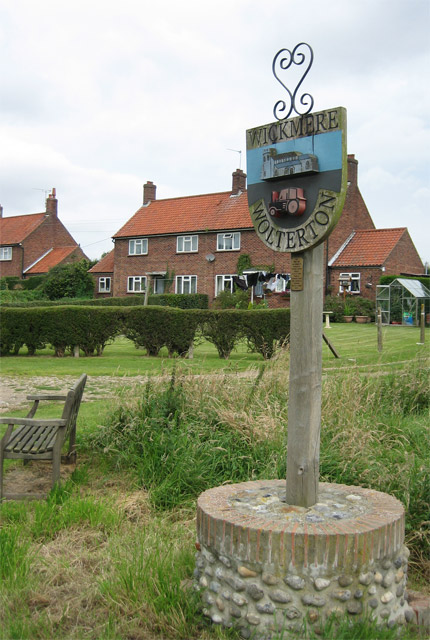 "Wickmere/Wolterton Village Sign with ""council houses"""