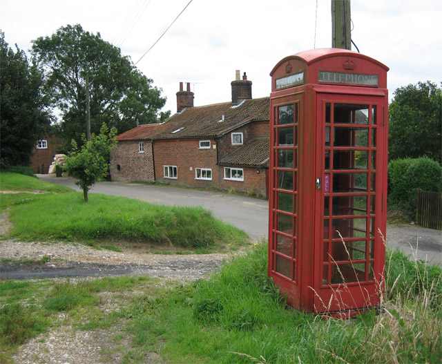 Wickmere village street with telephone kiosk
