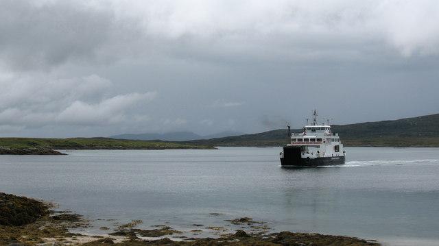 Calmac ferry approaching the slipway.