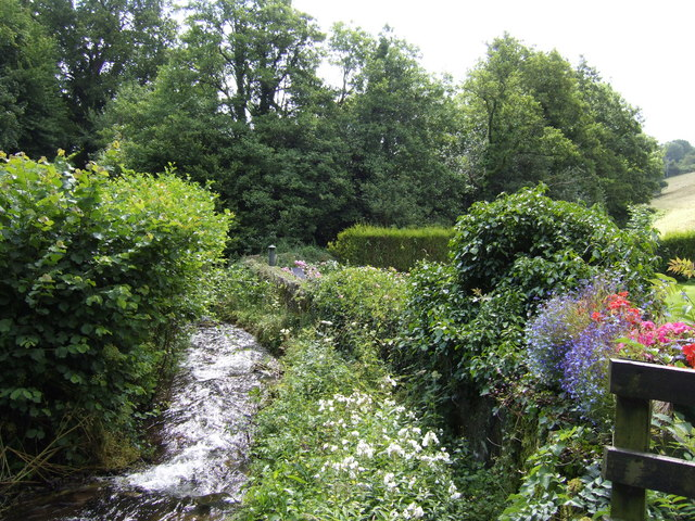 Rushing stream and cottage garden
