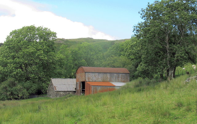 Colourful farm buildings at Glan y Mynach