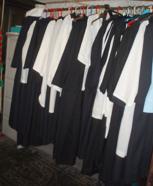 Cassocks hanging in the Church of St. Mary, Totnes