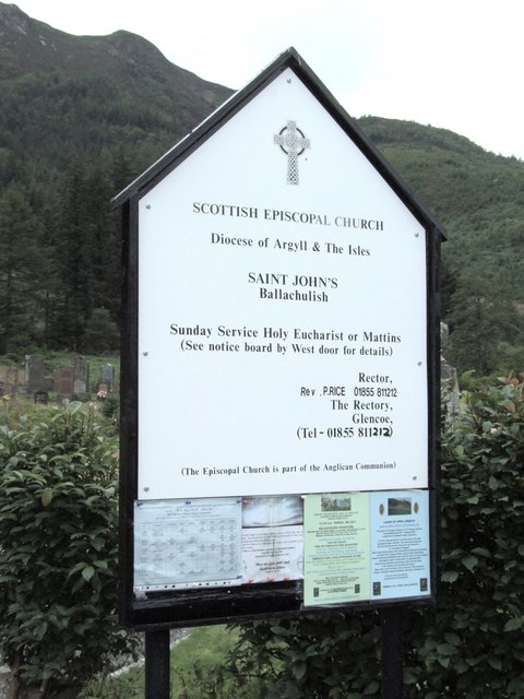 Notice board for St John's, Ballachulish