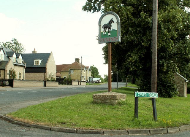 The village sign at Stuntney