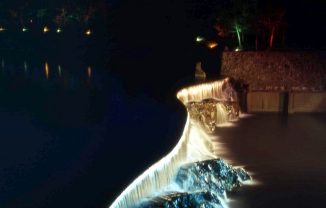 Rheidol Weir at night