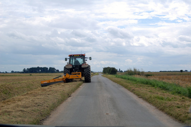 Mowing the Verges on Church Lane.