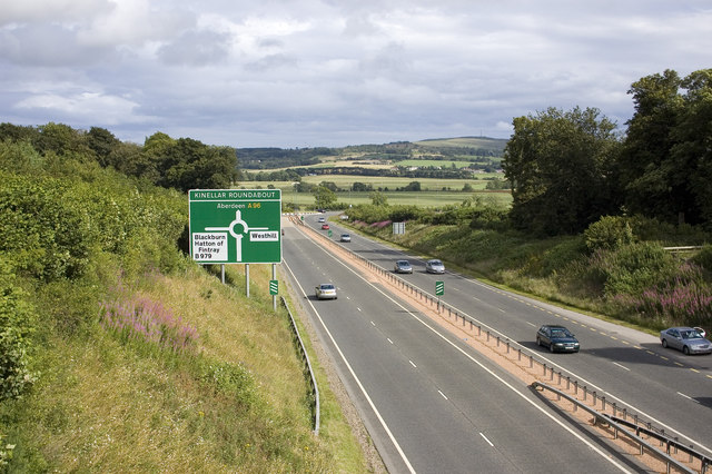 The A96, looking towards the Blackburn roundabout