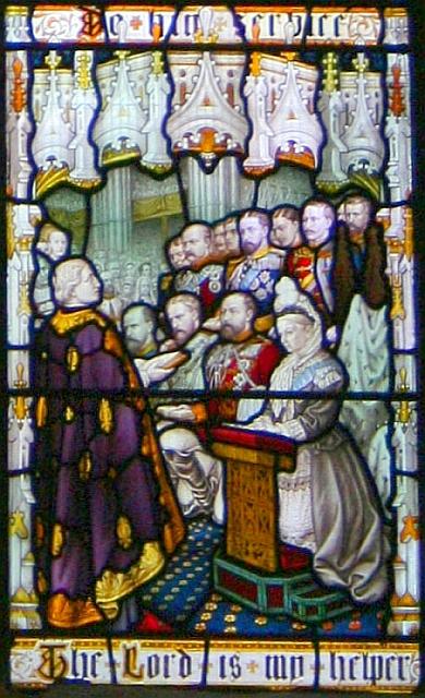 Detail - Golden Jubilee  Service - Window, Malvern Priory