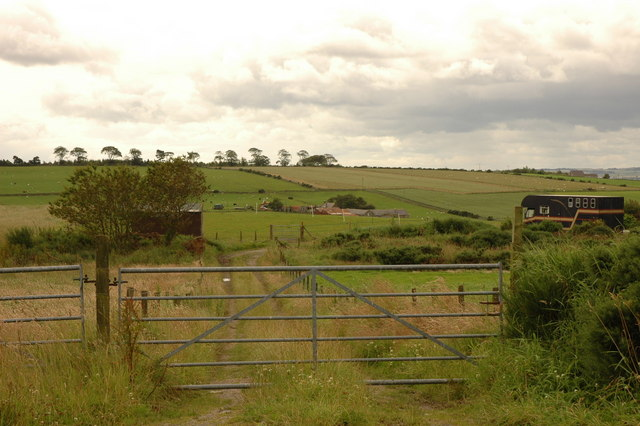 Farm track, fields and view to Burnside Farm