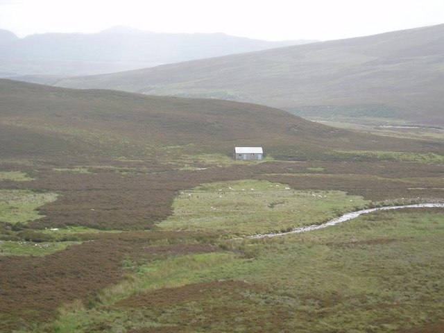 View of the bothy alongside the track