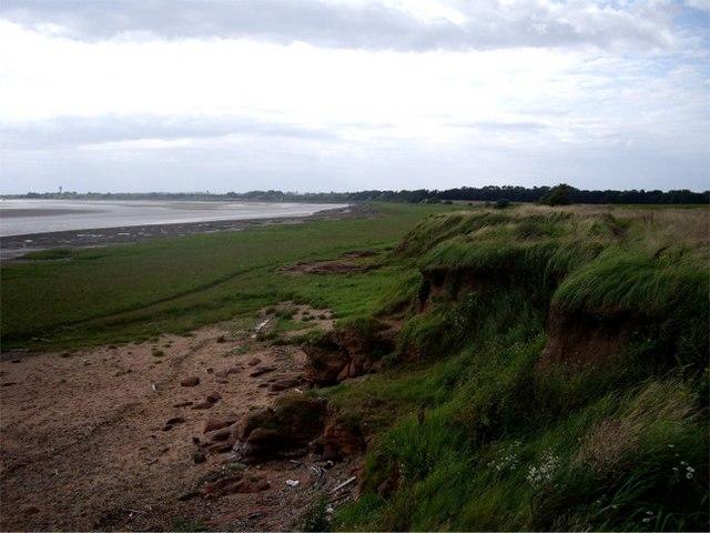 Sandstone cliffs and saltmarsh, Mersey Estuary, Hale Head
