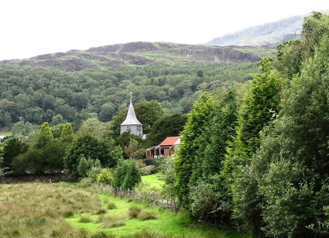 The spire of Eglwys Twrog Sant