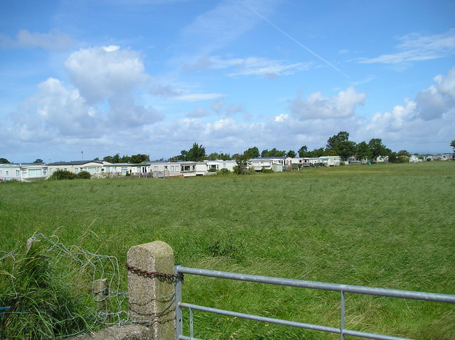 View from coastal path towards Cockerham Sands Caravan Park