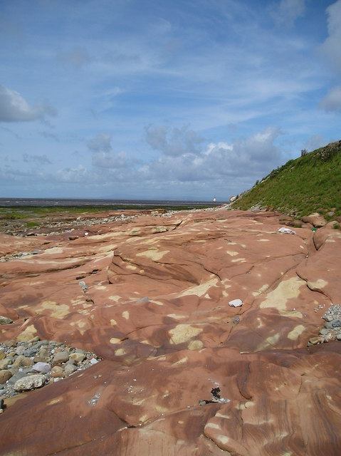 Sea beaten sandstone near Cockersands Abbey